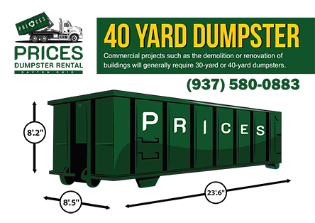 40 Yard Roll Off Dumpster Rental Dayton OH